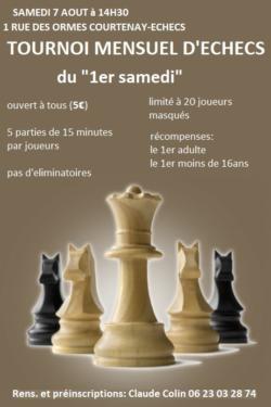 """Tournoi d'échecs mensuel du """"1er samedi"""" le 7 aout 2021 à 14h30"""